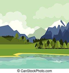 montanhas, natural, coloridos, lago, fundo, paisagem