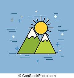 montanhas, natural, pico, neve, sol
