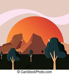montanhas, natural, sol, terreno, árvores, paisagem
