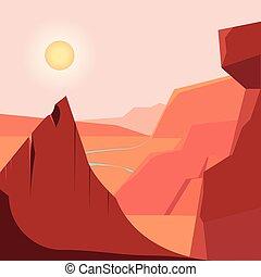 montanhas, natural, zona, desertado, paisagem rio