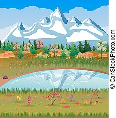 montanhas, natureza, floresta outono, lake., paisagem