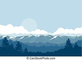 montanhas, neva-coberto, picos, floresta, nebuloso, paisagem