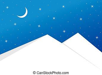 montanhas, nevado, céu estrelado, acima, noturna
