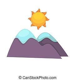 montanhas, nevado, sol, topo, acima, grande, caricatura