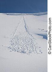 montanhas, -, neve, avalanche