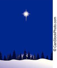 montanhas, neve, estrelas