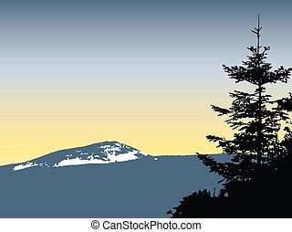 montanhas, neve