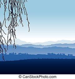 montanhas, nevoeiro, paisagem