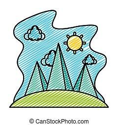 montanhas, nuvens, natureza, sol, doodle, paisagem