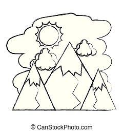montanhas, nuvens, natureza, sol, grunge, paisagem