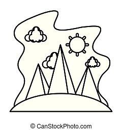 montanhas, nuvens, natureza, sol, linha, paisagem