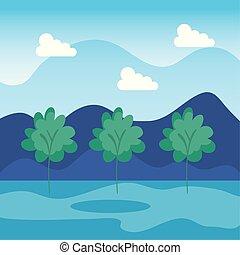 montanhas, nuvens, paisagem, árvores, natureza