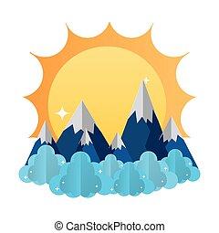 montanhas, nuvens, paisagem, sol gelo