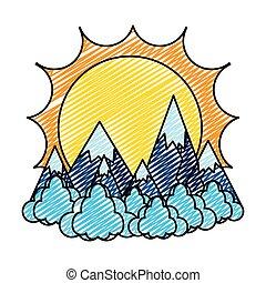 montanhas, nuvens, sol, gelo, doodle, paisagem