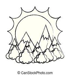 montanhas, nuvens, sol, gelo, grunge, paisagem