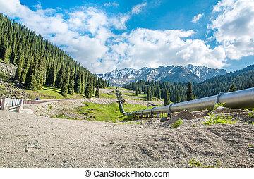 montanhas, oleoduto, tien, lago grande, kazakhstan, almaty,...