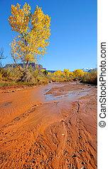 montanhas, outono, deserto, fluxo, nevado