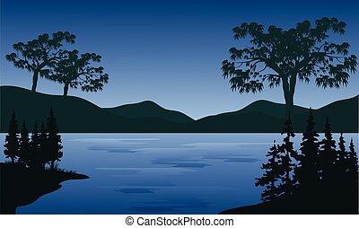 montanhas, pôr do sol, lago