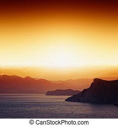 montanhas, pôr do sol, mar