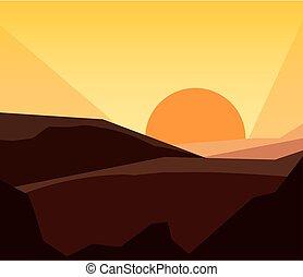 montanhas, pôr do sol, natural, paisagem