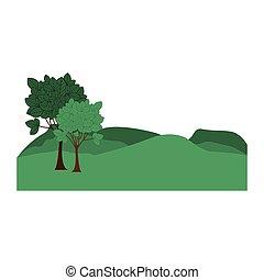 montanhas, paisagem, árvores