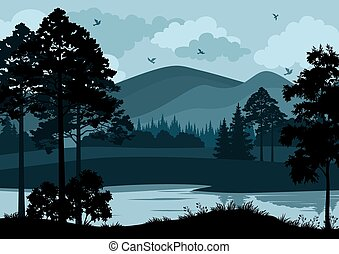 montanhas, paisagem, árvores, lago