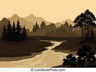 montanhas, paisagem, árvores, rio