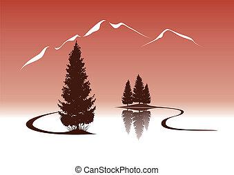 montanhas, paisagem, abetos, lago, ilustração