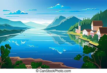 montanhas, paisagem, ponto, natureza, rio, vista