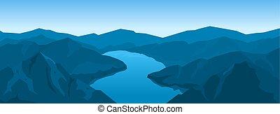 montanhas, paisagem rio