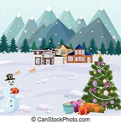 montanhas, pequeno, inverno, nevado, árvore, fundos, casas, holidays., snowman., natal, vista