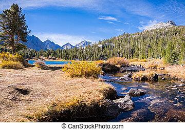 montanhas, pequeno, john, oriental, muir, ensolarado, lagos, dia outono, selva, califórnia, rastro, sierra, vale, paisagem, alpino