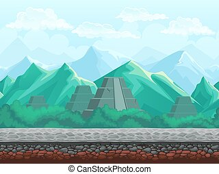 montanhas, piramide, esmeralda