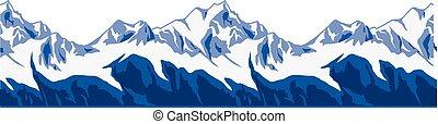 montanhas, ranges., neva-coberto