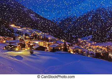 montanhas, refúgio esqui, solden, áustria, em, pôr do sol