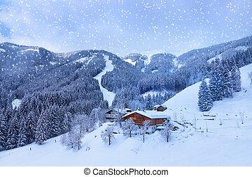 montanhas, refúgio esqui, zell-am-see, áustria