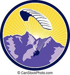 montanhas, retro, paragliding, círculo, alpes