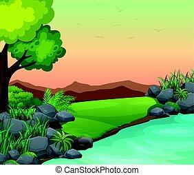 montanhas, rio, cena