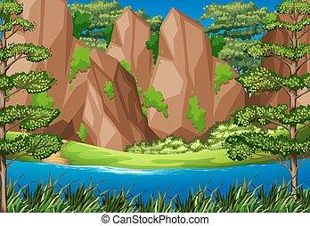 montanhas, rio, cena, floresta