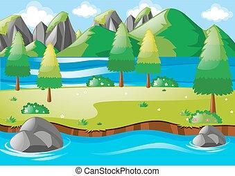 montanhas, rio, cena, natureza