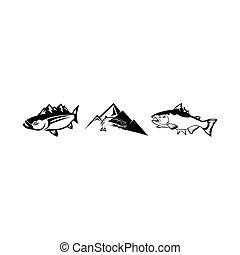 montanhas, rio, peixe