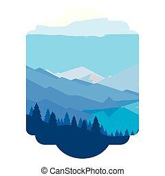 montanhas, rio, snowscape, cena, floresta