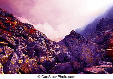 montanhas, rochoso, paisagem
