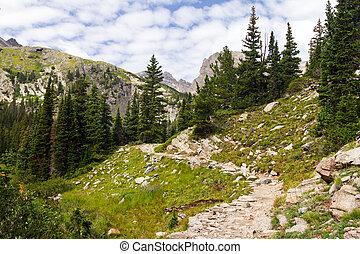 montanhas, rochoso, trilha hiking, através, colorado