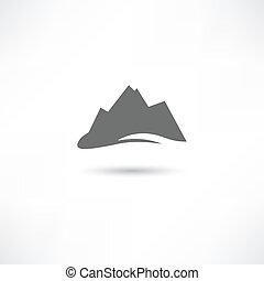 montanhas, símbolo, cinzento