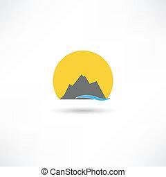 montanhas, símbolo, sol