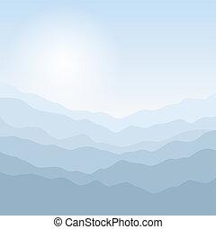 montanhas, silueta, amanhecer