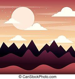 montanhas, silueta, céu, pôr do sol, nuvens, paisagem