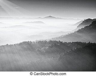 montanhas, silueta, parque nacional, pôr do sol, vista