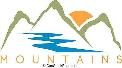montanhas, simples, abstratos, ilustração, vetorial, rio